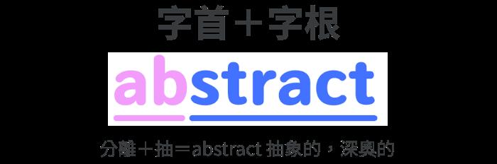 單字 abstract | 分離+抽=abstract 抽象的,深奧的 | 字根字首字尾拆解