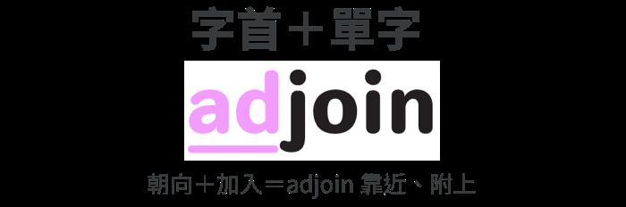 單字 adjoin | 朝向+加入=adjoin 靠近、附上 | 字根字首字尾拆解
